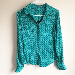 Elie Tahari Blue Green Silk Blend Career Blouse